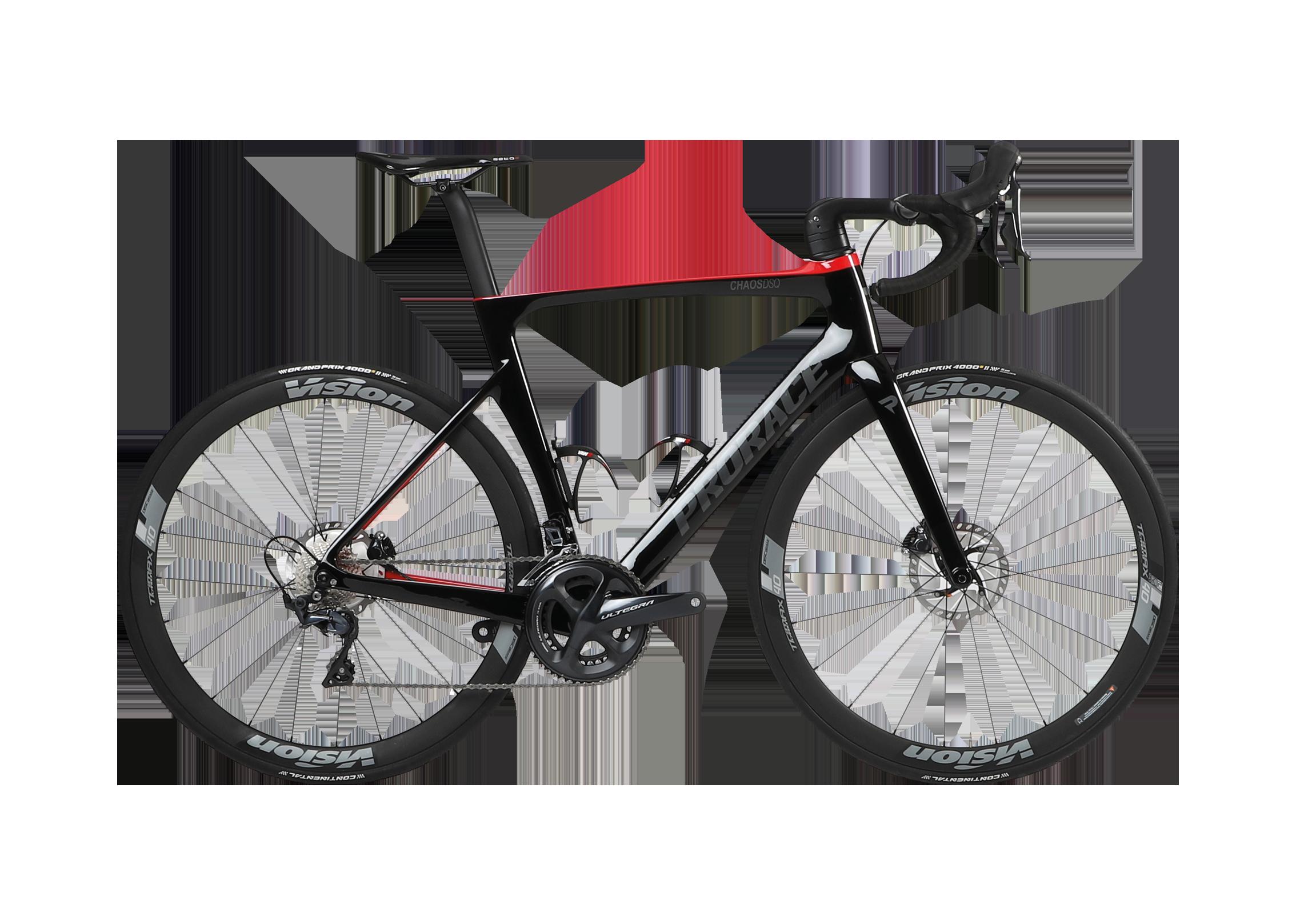 Chaos DSQ aerodynamische Prorace fiets met schijfremmen zijaanzicht