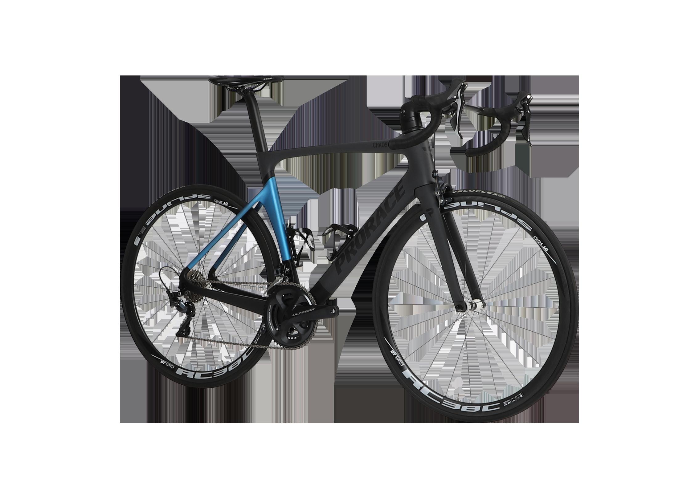 Chaos aerodaynamische Prorace fiets met schijfremmen vooraanzicht