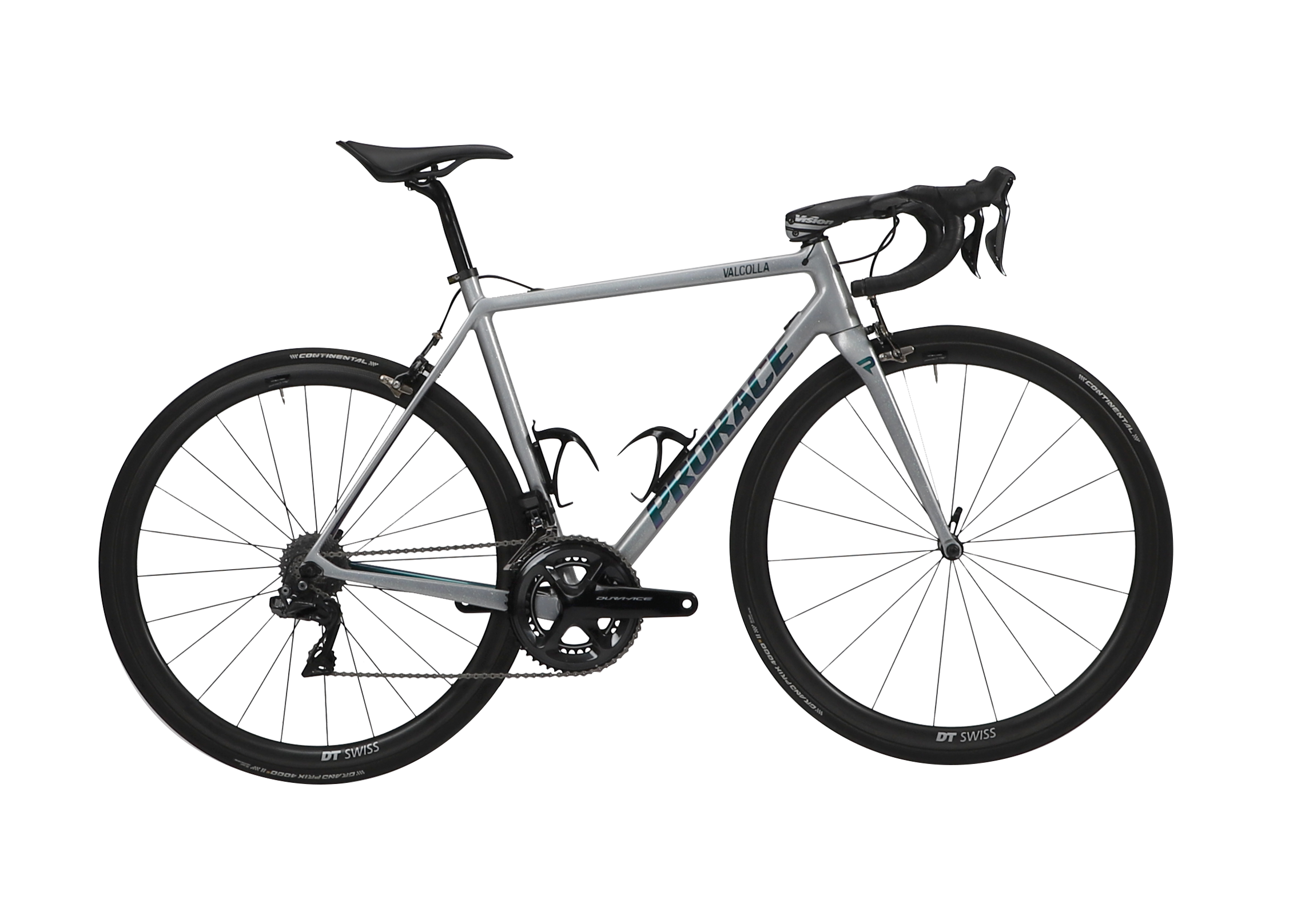 Valcolla lightweight fiets Prorace zijaanzicht- eigen design grijs